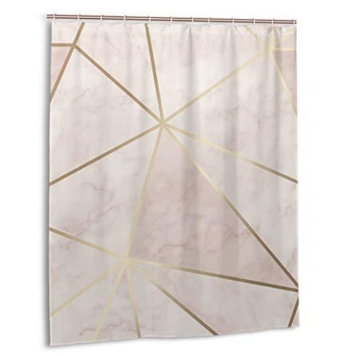 Zara Duschvorhang, wasserdicht, schimmernd, metallisch, weich, rosa, goldfarben, robuste Duschvorhänge mit 12 Haken für Badezimmer, dekorativ, 152 x 183 cm