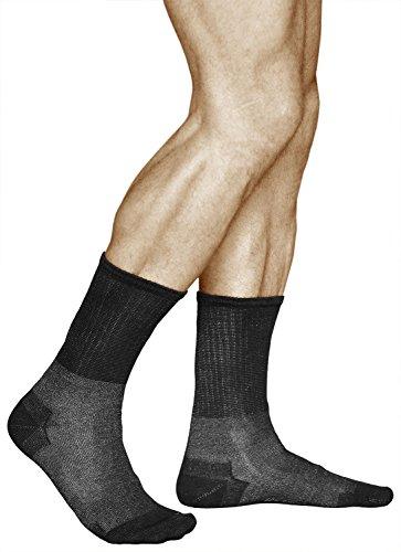 vitsocks Calcetines Diabéticos Antibacterianos Hombre Anti-Olor 12% hilo de Plata, negro, 44-46