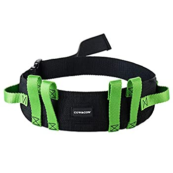 COW&COW Gait Belt  28inch-52inch  - with 6 Handles and Quick Release Buckle - Transfer Walking and Standing Assist Aid for Homecare,Nurse,Physical Therapy Green