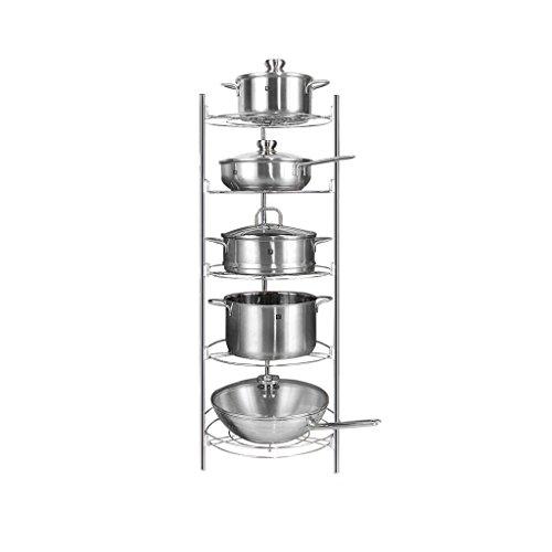 Qiutianchen Edelstahl Küchenträgerboden Fünf-Schicht-Geschirr-Rack Pot-Rack-Lagerregalablauf-Küchelregal