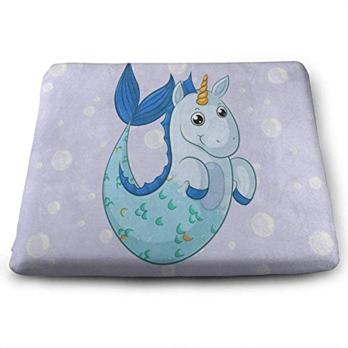 wusond Cojines de Asiento Cuadrados Cojines de Suelo de Espuma viscoelástica de Primera Calidad con diseño de Unicornio y Sirena de Dibujos Animados