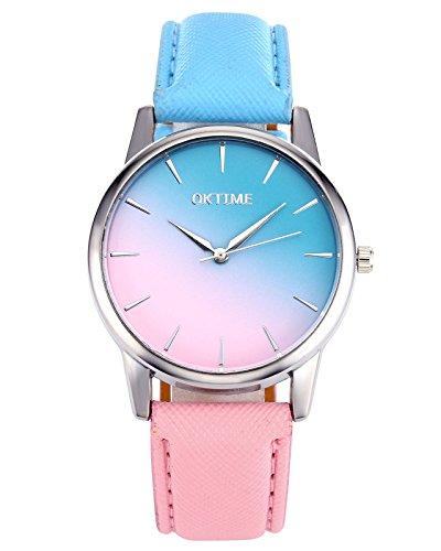 JSDDE - Reloj de pulsera para mujer, color rosa y azul, correa de piel sintética