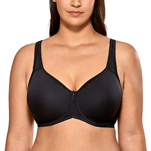 DELIMIRA Women's Full Coverage Underwire Seamless Lightly Lined Basic T-Shirt Bra Black 36F