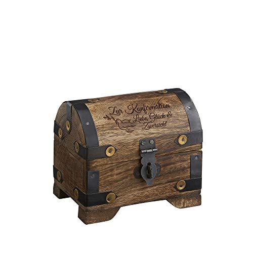 Casa Vivente Kleine Geldschatztruhe mit Gravur – Zur Konfirmation – Motiv Taube – Dunkles Holz – Vintage Bauernkasse – Verpackung für Geldgeschenke – Geschenkideen für Konfirmanden