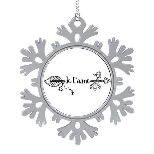 Christmas Ornaments 2020, 3'' Snowflake Meatal Ornament Je Taime Black Home Hanging Decor for Xmas Tree Christmas Tree Decorations
