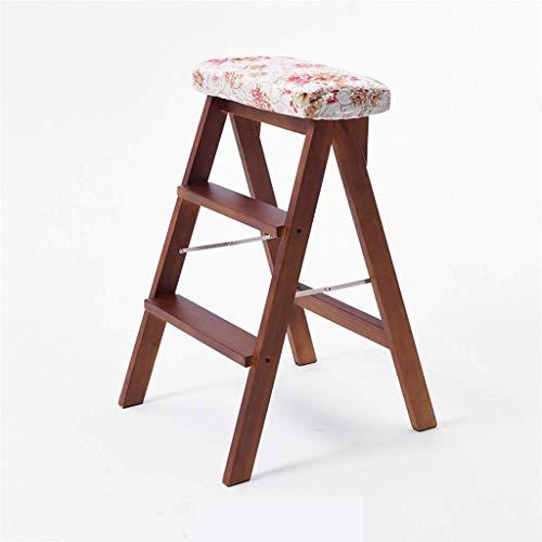 GQQ Ladders,Folding Steps Family Wooden Stools, Folding Solid Wood Ladder Stool Leisure Stool/Sponge Cushion Design/Space Saving Design Multi-Purpose Ladders,D