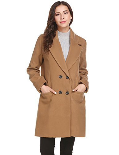 HOTOUCH Women Wool Pea Coat Overcoat Jacket Double Breasted Blended Long Peacoat khaki XL
