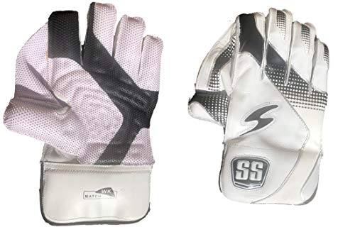 S+S SS Match Cricket Wicket Keeping Handschuhe, Herrengröße, Baumwoll-Innenhandschuhe inklusive, Weiß-Schwarz