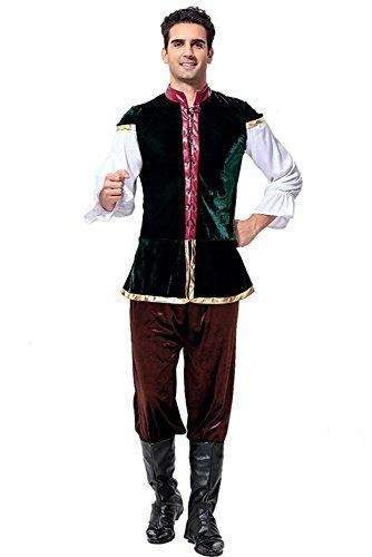 KINDOYO Herren German Oktoberfest Beer Kostüm Lederhose Weste T-Shirt und Hosen Cosplay Halloween Performance Kleidung, Mehrfarbig, One Size