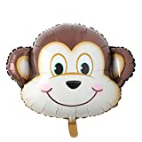 Huge Animal Head Safari Foil Balloon Inflatable Air Ballon Happy Birthday Christmas Party Decorations Kids Baby Shower Party Supplies (Huge Monkey Head)