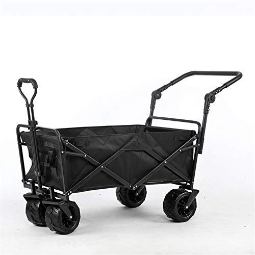 Feixunfan Carro plegable para uso al aire libre, carro plegable para jardín, playa, compras, camping, carros de jardín para jardinería, camping (color negro, tamaño: una talla única)