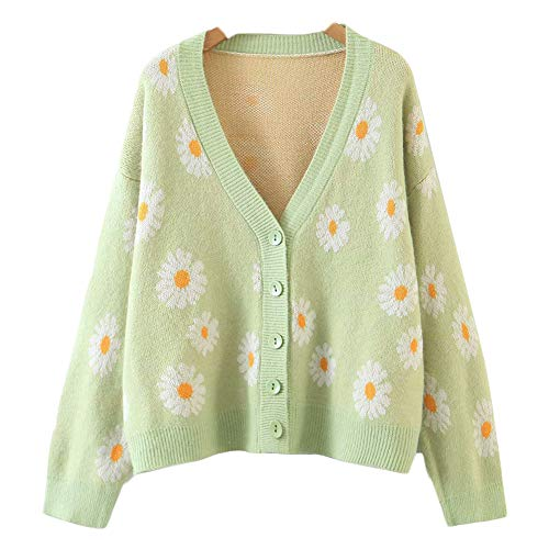 Women's Y2K Floral Smile Face V Neck Long Sleeve Cardigan Sweater Open Front Button 90s Outerwear (One Size, Light Green Daisy)