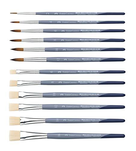 Faber-Castell Creative Studio Pinsel (rund & flach, Pinselset Komplett 12-teilig)
