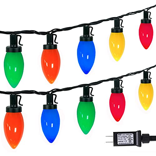 C9 Bulbs Christmas Lights - 33ft 50LEDs Outdoor Christmas String Lights with 29V Safe Adaptor, 5 Sets Connectable,UL Certified Outdoor Indoor Fairy Lights for Christmas Tree Party Garden Decor