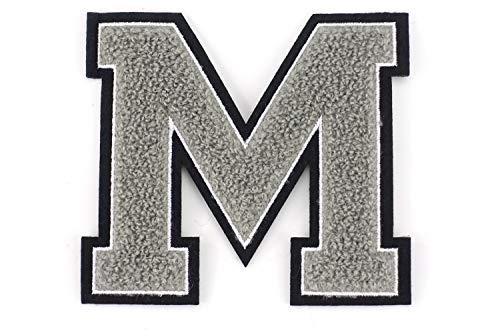 Naehgedoens.de Frottee Buchstabe A-Z | Grau, Weiß, Schwarz | 9,5 cm hoch | Varsity Letter M