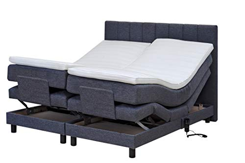 Tesla Dreams Boxspringbett 180x200 Emotion - Elektrisch verstellbare Matratze, 7 Zonen Taschenfederkern-Matratze, Topper VISCO/KALTSCHAUM, H2/H3,(180x200 Visco, Anthrazit)