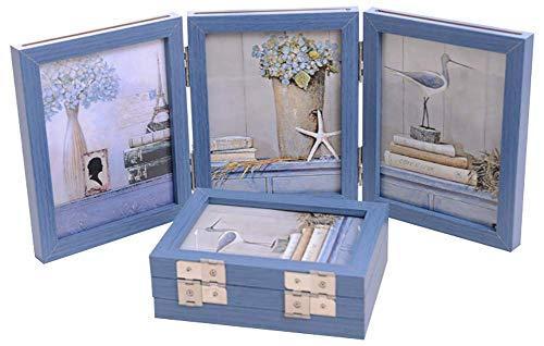 AMAZING1 Collage Bilderrahmen Dekorativ Klapptisch Schreibtisch Tischplatte Bilderrahmen 3 vertikale Öffnungen mit Echtglas Blau 15,2 x 20,3 cm