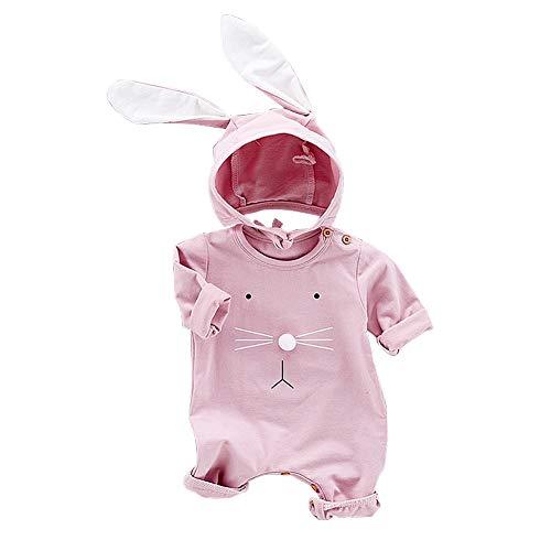 Mono para bebé con gorro de conejo Mono para bebé con gorro de conejo Algodón Bebé Onesies(66-Rosado)