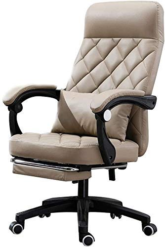 WSDSX Office Chairs Task Swivel Executive Computer Chair with Footrest Ergonomic High Backrest Office Computer Chair Reclining Office Desk Chair with Lumbar Support (Color : Khaki)