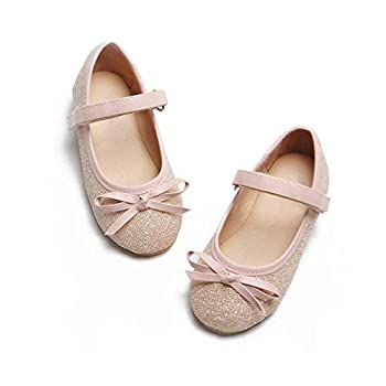 Ballet Mary Jane Flats Glitter Dress Shoes for Toddlers & Little Girls  Pink