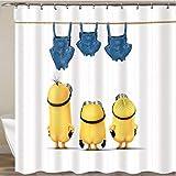 PePaa Gelbe Duschvorhänge Boshafte Minions Serie Duschvorhänge Badvorhang Polyester Wasserdichter Badvorhang 180X180CM