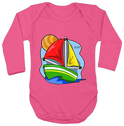 Hariz - Body de manga larga para bebé, barco de vela, policía y tarjeta de regalo Unicornio fucsia. Talla:50-56