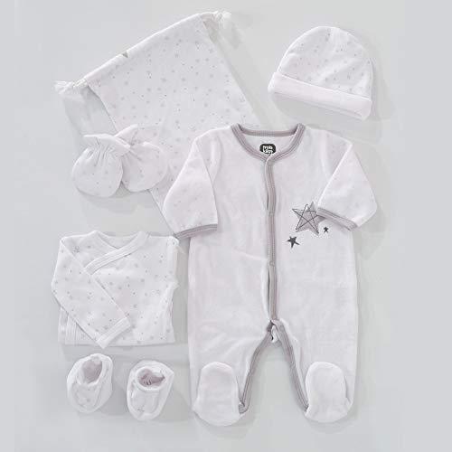 TROIS KILOS SEPT - Kit Naissance 6 Pièces - 1 mois - Velours Blanc - Motif Étoiles - (Pyjama, Body, Bonnet, Moufles, Chaussons et Pochon de Rangement) - Cadeau Bébé Mixte Garçon et Fille