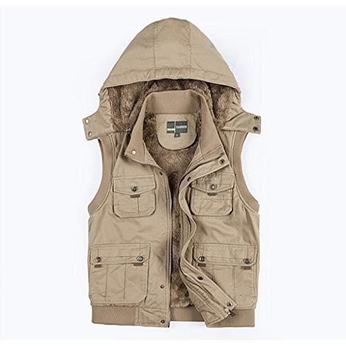 QARYYQ Plissévest voor heren, verdikte vest, zonder mouwen, afneembare winterjas met capuchon, reflecterende kleding