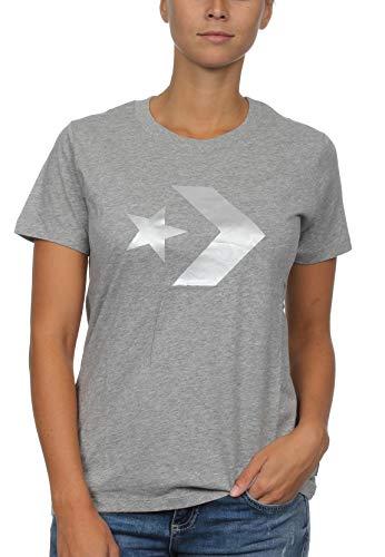 Converse Star Chevron Metallic Crew tee VGH - Camiseta, Mujer, Gris(Vintage Grey Heather)