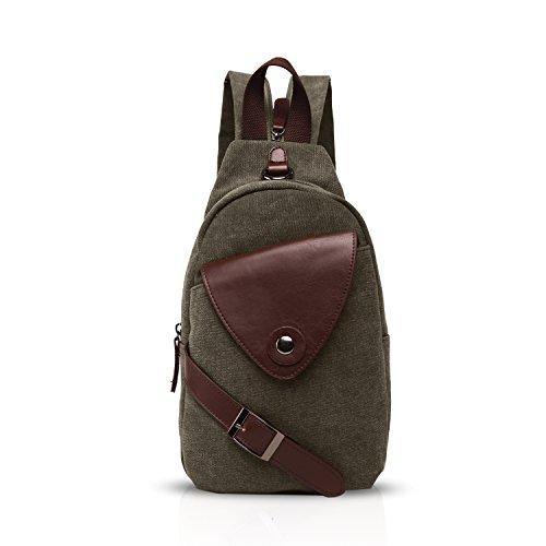 FANDARE Klassische Sling Bag Sport Rucksack Party Outdoor Tragbare Crossbody Tasche Damen/Herren Breathable Verschleißfeste Leinwand Grün