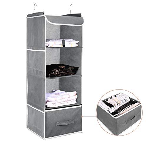 Cabilock Closet Organizer 4 Shelves Hanging Bag With 1 Underwear/Socks Drawer Divider Space Saver Foldable Cloth Storage Hanging Bag with 2 Side Pockets