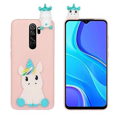 HopMore Funda para Xiaomi Redmi 9 Silicona Blando Divertidas Animal Carcasa Redmi 9 Dibujo 3D TPU Ultrafina Slim Case Antigolpes Caso Protección Cover Gracioso - Unicornio Rosa