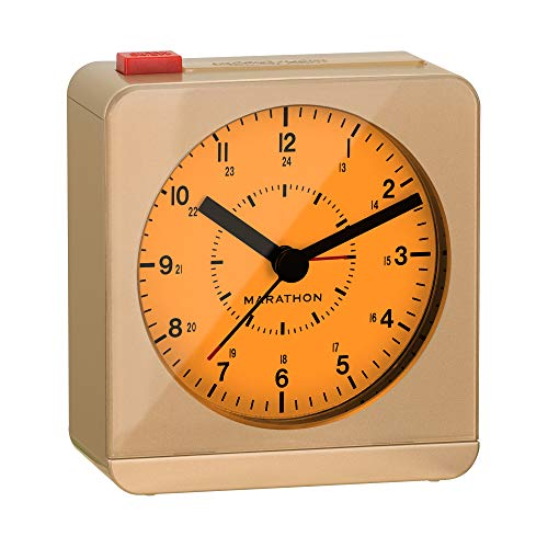MARATHON CL030053GD Classic Silent Sweep Alarm Clock with Auto Night Light. Batteries Included