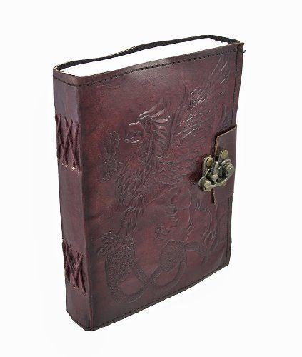 Dios Embossed Gryphon Leather Blank Journal, Leather Journal Blank Pages with Brass Clasp 5 by7 inches.