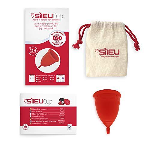 Copa Menstrual Sileu Cup Soft - Ayuda prevenir infecciones urinarias, cistitis, vejigas sensibles, calambres, cólicos menstruales - Disminuye dolor causado por menstruación - Talla L, Rojo