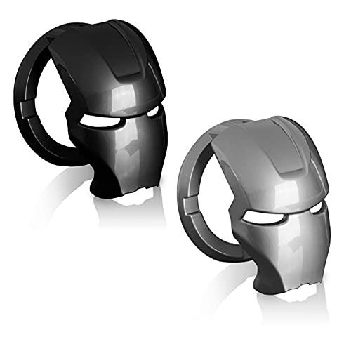 3D Iron Man Auto Innenzubehör,3D-Deko,Iron Man 3D Anime Charakter Start Stopp Knopfabdeckung Aluminiumlegierung Schutzhülle Automatischer Startknopf Aufkleber Dekorativer Ring