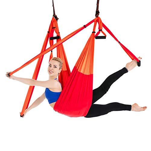 WOERD Kit trapecio para yoga y columpio de interior, para deportes de aire, hamacas de yoga aéreas, ejercicios de inversión, con 2 correas de extensión, juego de dos colores rojo