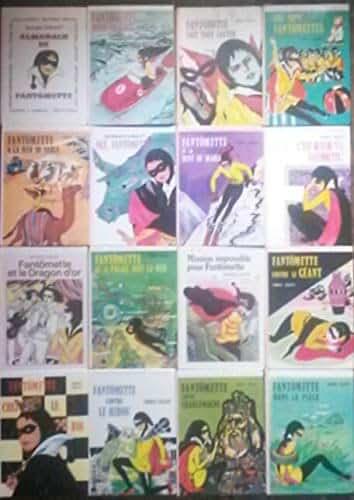 """Lot de 16 Georges Chaulet """"Fantômette"""" (Fantômette dans le piège,Fantômette contre Charlemagne,Fantômette contre le hibou,...,L'almanach de Fantômette)."""