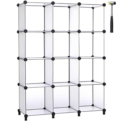 ANWBROAD Cubo Storage Organizzatore 12-cube DIY Modular Closet Organizzatore plastica libreria scaffali di stoccaggio unità martello di gomma per camera da letto ufficio soggiorno bianco LCS012T