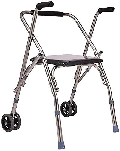 GANE Andador con Ruedas,Ayuda para Caminar de Movilidad para Adultos Mayores,Plegable con cojín de Esponja,Rueda de Acero Inoxidable,reposabrazos de Dos Ruedas,Ajustable en Altura