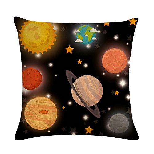 YIBINGLI Star ring cushion cover space rocket throw pillow cover linen car sofa chair fashion decoration 45×45cm with pillow core