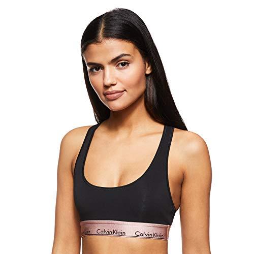 Calvin Klein Damen Unlined Bralette Bikinioberteil, Schwarz (Black W. Rose Gold Ground GTC), 36 (Herstellergröße:S)