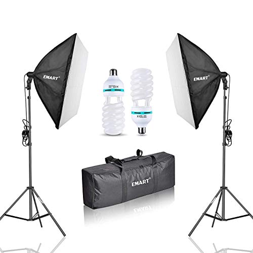 Emart, set softbox pieghevole da 1000 W, 60 x 60 cm, illuminazione per studio fotografico, sistema di illuminazione per studio fotografico, registrazione video con treppiede e borsa per il trasporto