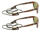 Peeper Keepers Braided Leather Eyewear Retainer Eyeglass Strap Cord   Thin Sunglass & Glasses Holder Keeper Lanyard   2pk Bundle + Cloth, Dark Brown