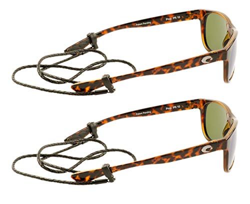 Peeper Keepers Braided Leather Cord Eyeglass and Sunglass Retainer / Strap, Black (2 Pack)
