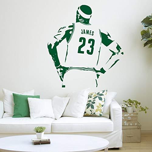 Pegatinas de pared, pegatina de vinilo para el interior del hogar, decoración extraíble, pegatinas de pared, decoración de pared deportiva con estrella de baloncesto, Mural 58x62cm