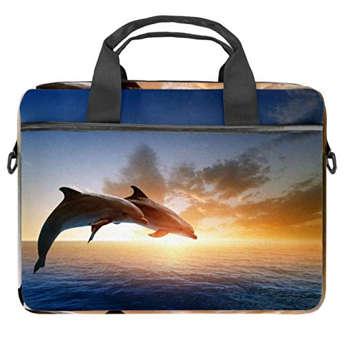 13-14.5 Inch Laptop Sleeve Case Dolphins Jumping Out of Blue Sea Protective Cover Bag Portable Computer Notebook Carrying Case Briefcase Message Bag