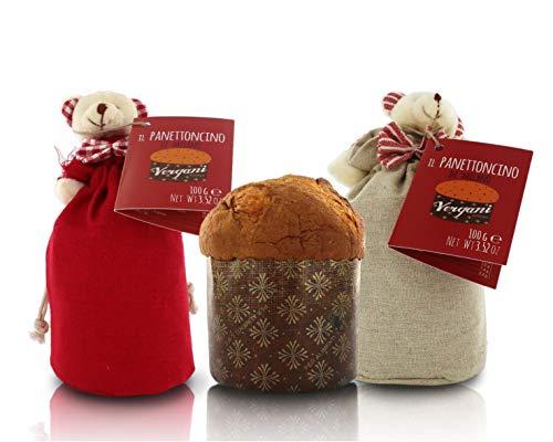 Vergani Panettone Classico di Milano, ricetta Tradizionale, Formato Mignon, in Sacchetto di Tessuto con Orsetto o Renna, 100g - 25 Pezzi