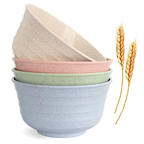 JUCOXO Cuencos de cereales irrompibles – Juego de 4 cuencos ligeros de fibra de paja de trigo – apto para lavaplatos y microondas – 24 oz niños, arroz, sopa cuencos
