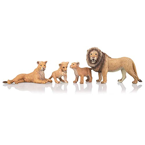 TOYMANY 4PCS Realistic Lion Figurines with Lion Cubs, 2-5' Safari Animals Figures Family Set Includes Baby Lions, Educational Toy Cake Toppers Christmas Birthday Gift for Kids Toddlers